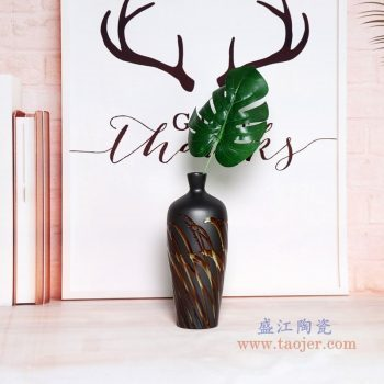 RZPH01-A 景德镇陶瓷 景德镇新中式陶瓷颜色釉黑色花瓶摆件