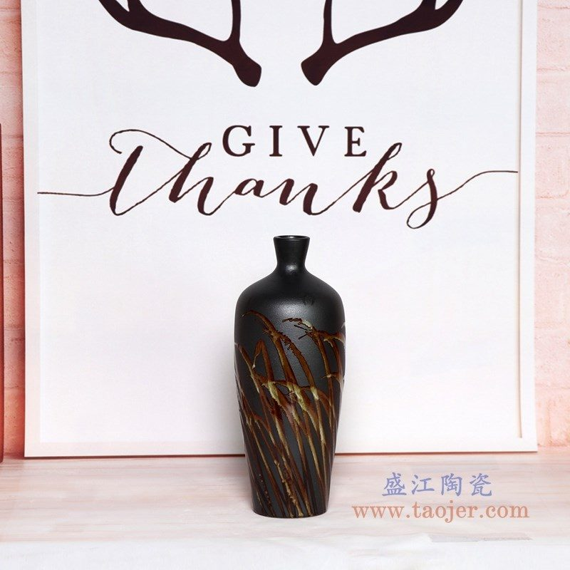 RZPH01-A 盛江陶瓷 景德镇新中式陶瓷颜色釉黑色花瓶摆件