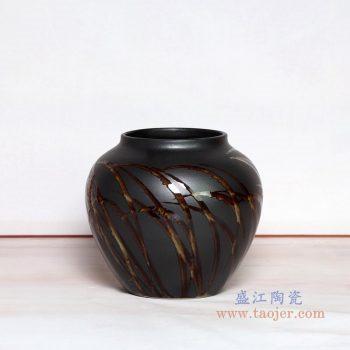 RZPH01-B 景德镇陶瓷 景德镇新中式陶瓷颜色釉黑色花瓶摆件