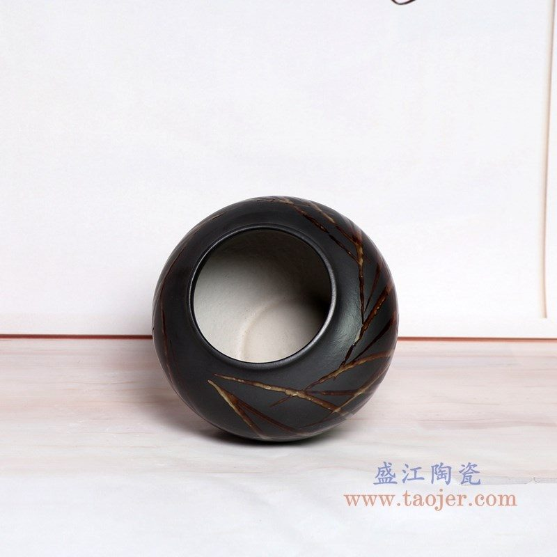 RZPH01-B 盛江陶瓷 景德镇新中式陶瓷颜色釉黑色花瓶摆件