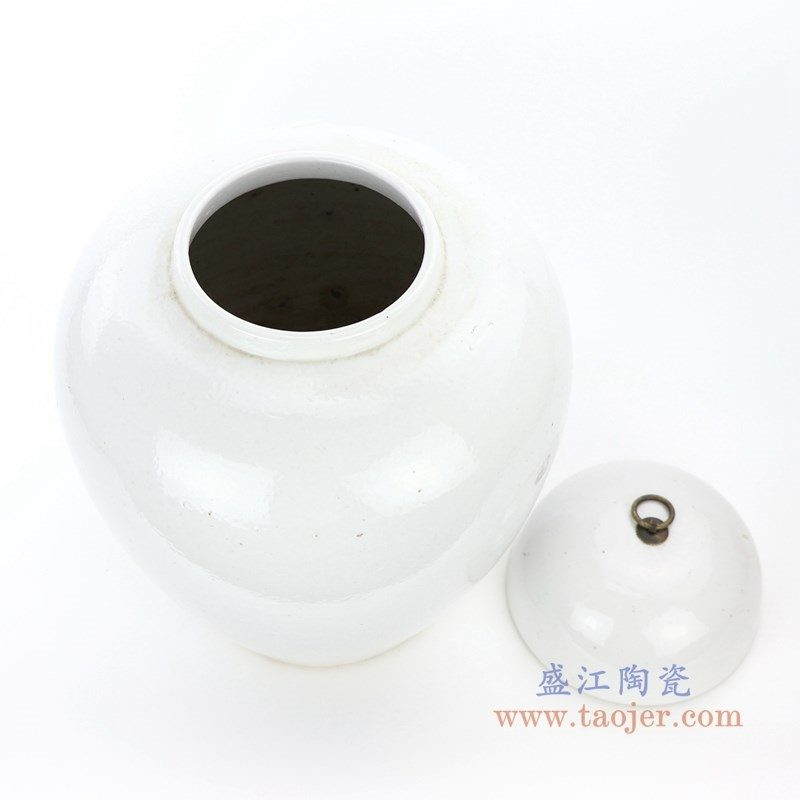 RZPI12 盛江陶瓷 仿古做旧高温颜色釉带盖储物罐大