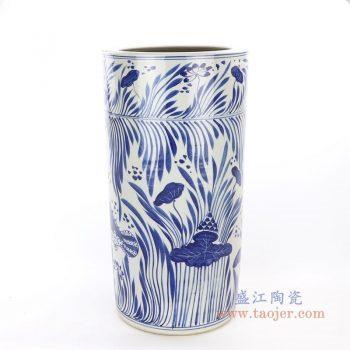 RZPI15 景德镇陶瓷 手绘青花鱼藻纹大剑筒
