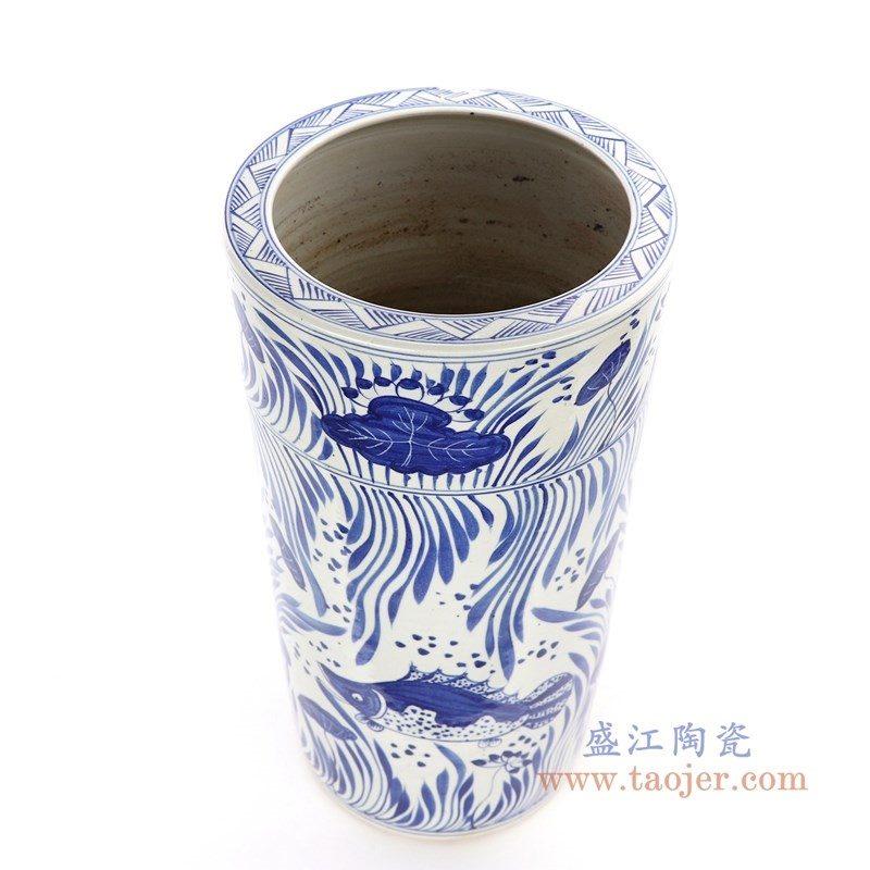 RZPI15 盛江陶瓷 手绘青花鱼藻纹大剑筒