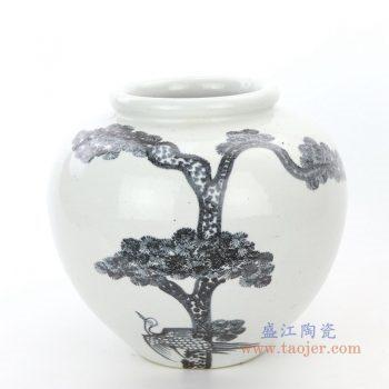 RZPI22-A  盛江陶瓷  仿古做旧树木图案高温单色釉储物罐