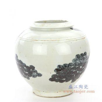 RZPI22-B 景德镇陶瓷 仿古做旧树木图案高温单色釉储物罐