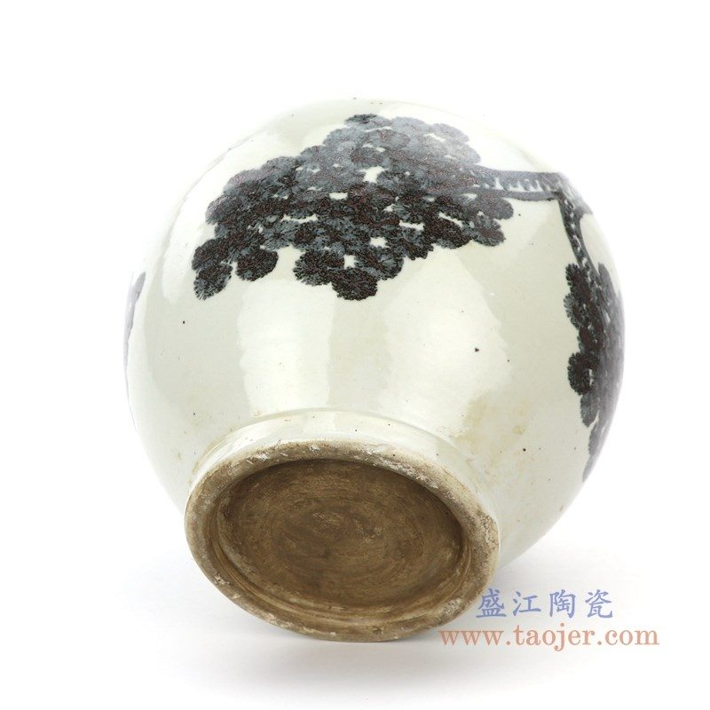 RZPI22 盛江陶瓷 仿古做旧树木图案高温单色釉储物罐