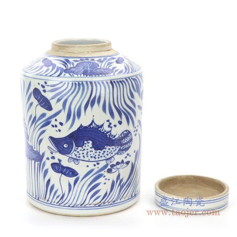 RZPI23 盛江陶瓷 陶瓷青花荷叶手绘茶叶罐