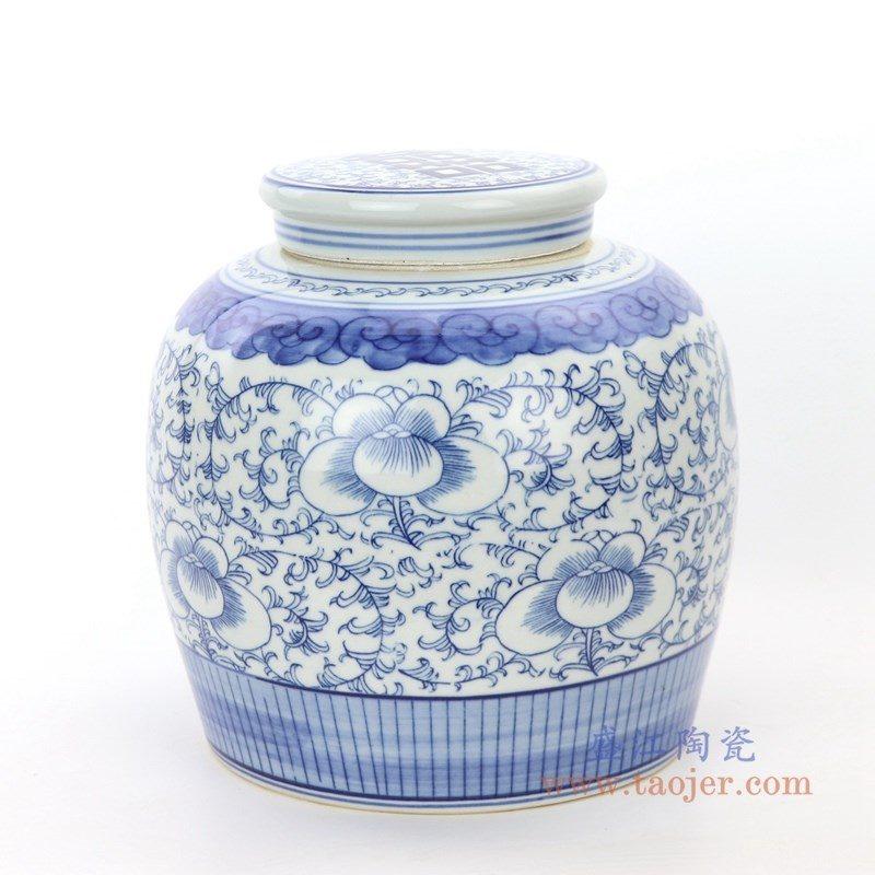 RZPI24-A 盛江陶瓷 青花牡丹缠枝莲纹茶叶罐