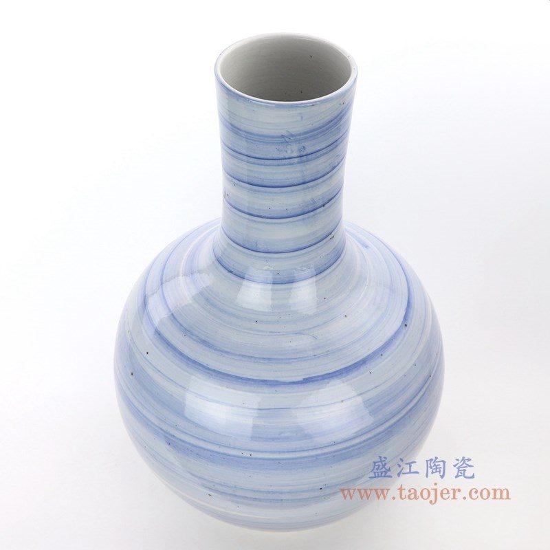 RZPI25 盛江陶瓷 手绘青花条纹天球瓶
