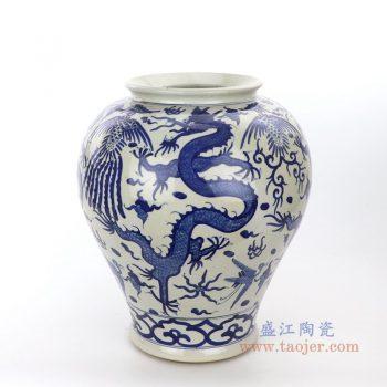RZPI26 景德镇陶瓷 手绘青花云龙纹罐不带盖