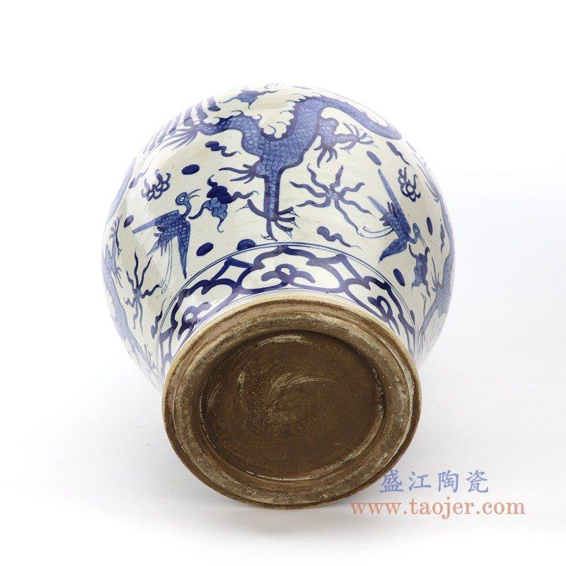 RZPI26 盛江陶瓷 手绘青花云龙纹罐不带盖