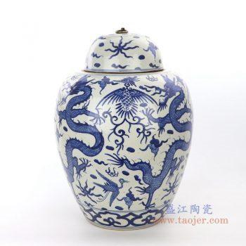 RZPI27-A 景德镇陶瓷 手绘青花带盖冬瓜坛