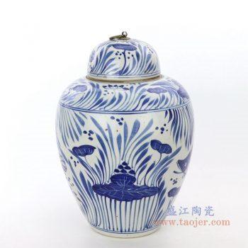 RZPI27-B 景德镇陶瓷 青花荷花鱼草纹茶叶罐