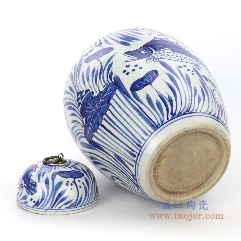 RZPI27-B 盛江陶瓷 青花荷花鱼草纹茶叶罐