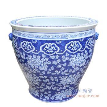 RYLU176-E 景德镇陶瓷 手绘青花梅花双耳金鱼缸