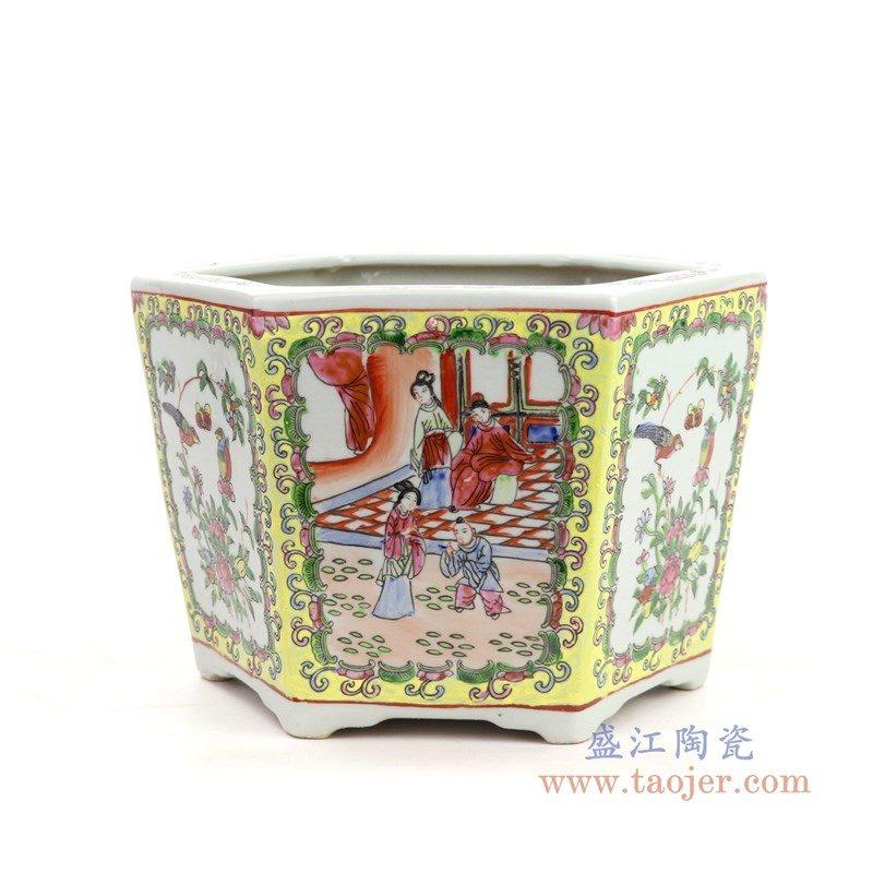 RYSZ05 盛江陶瓷 仿古手绘粉彩花鸟人物陶瓷六角花盆
