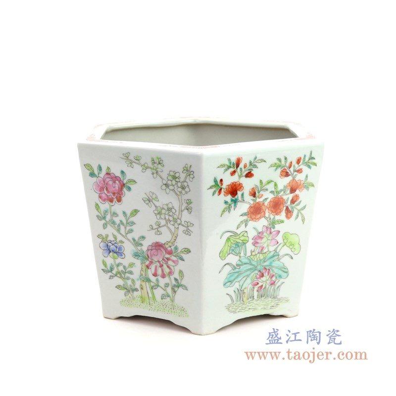 RYSZ12 盛江陶瓷 仿古手绘粉彩蝶恋花六角花盆