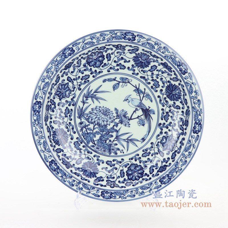 RZBD05 盛江陶瓷 仿古青花手绘花鸟图案装饰挂盘瓷盘坐盘