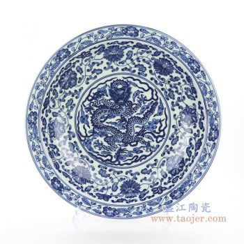 RZBD06 景德镇陶瓷 仿古青花手绘龙纹图案装饰挂盘瓷盘坐盘