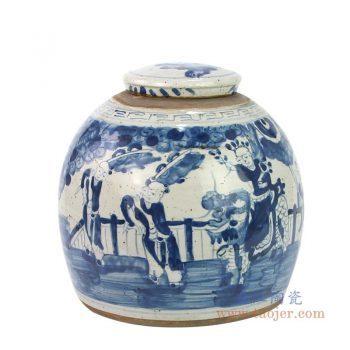 RZEY16-S-B 景德镇陶瓷 仿古手绘青花麒麟送子茶叶罐