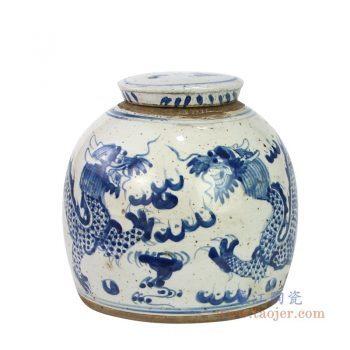 RZEY16-S-C 景德镇陶瓷 青花云龙纹茶叶罐