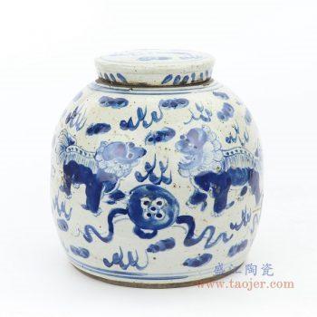 RZEY16-S-D 景德镇陶瓷  青花海藻狮子图茶叶罐