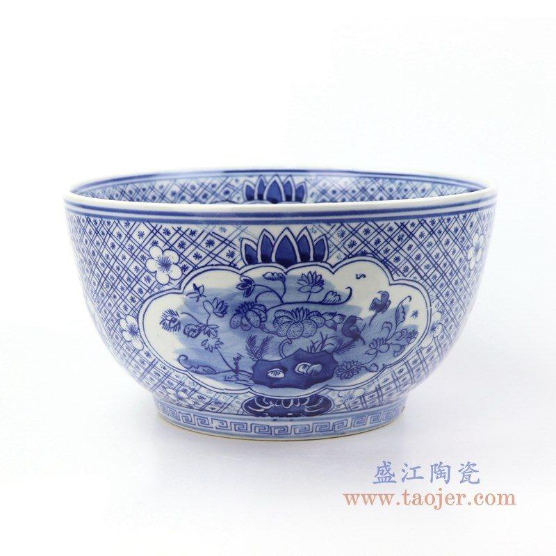 RYLU158-B 盛江陶瓷 景德镇手绘青花花卉茶具单杯