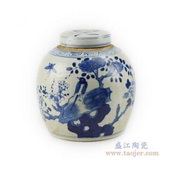 RZKT04-E 景德镇陶瓷 仿古手绘青花人物山水茶叶罐