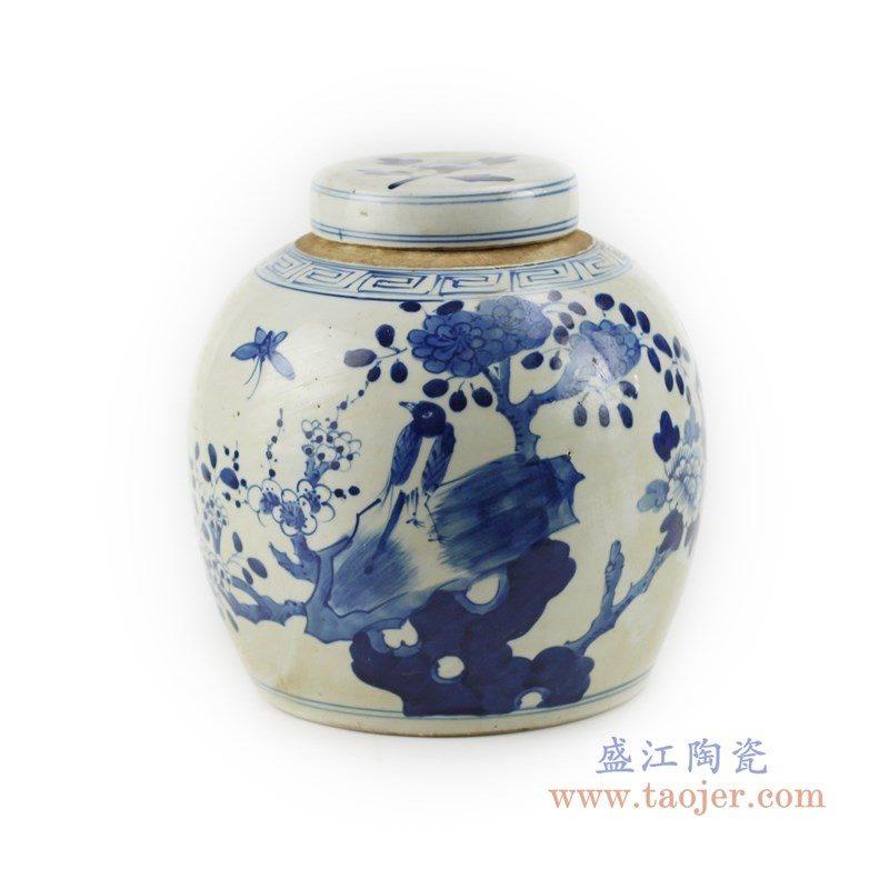 RZKT04-E 盛江陶瓷 仿古手绘青花人物山水茶叶罐