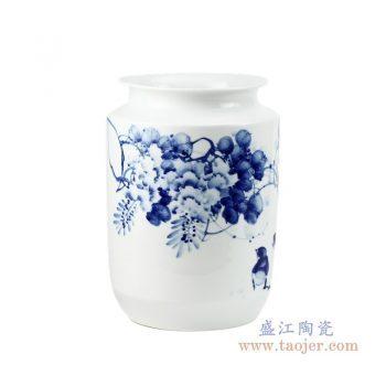 RZPO02 景德镇陶瓷 手绘青花花鸟图纹罐