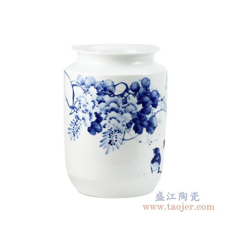 RZPO02 盛江陶瓷 手绘青花花鸟图纹罐