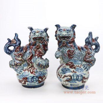 RZGA07 景德镇陶瓷 仿古做旧青花釉里红狮子摆件一对