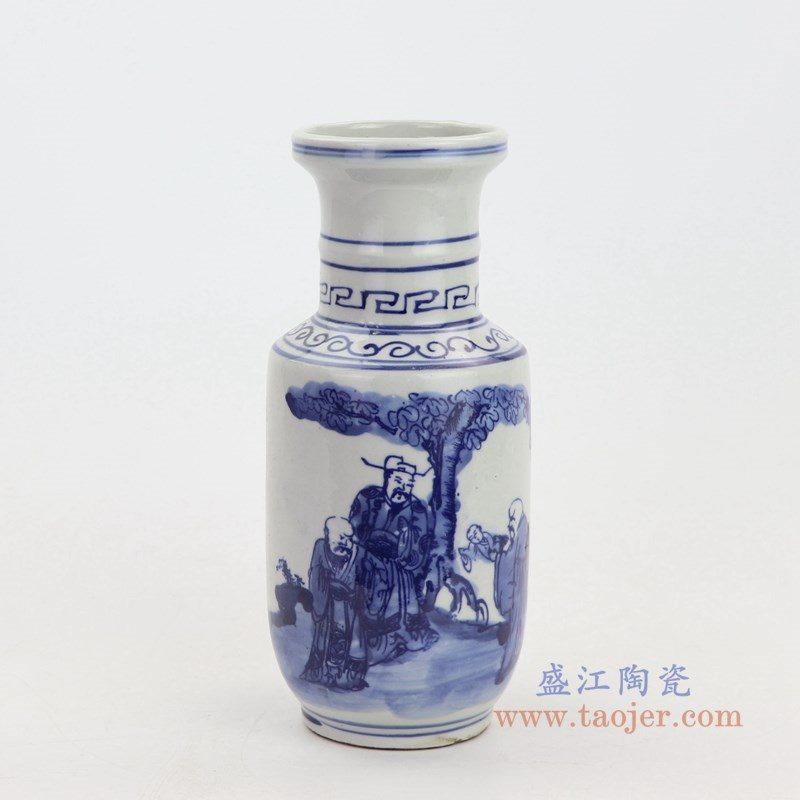 RZKT16 盛江陶瓷 青花人物棒槌瓶仿古老货瓷器家居摆件