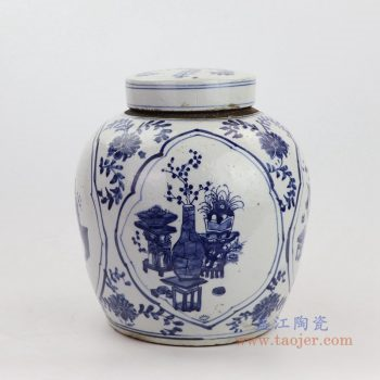 RZKT19-A-大号 景德镇陶瓷 清代青花八宝图精品陶瓷盖罐