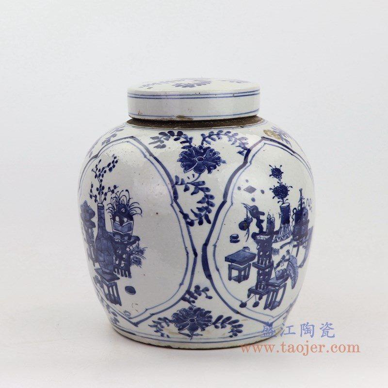 RZKT19-A-大号 盛江陶瓷 清代青花八宝图精品陶瓷盖罐