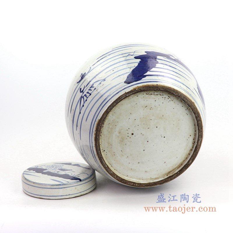 RZKT19-B-大号 盛江陶瓷 青花山水图精品陶瓷盖罐