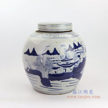 RZKT19-B-大号 景德镇陶瓷  青花山水图精品陶瓷盖罐
