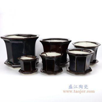 RZPR01 景德镇陶瓷 多肉植物花盆陶瓷黑色特大号 大号 中号 中小号 小号 最小号