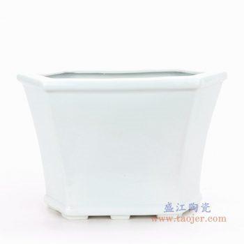 RZPS01 景德镇陶瓷 复古风格素白胎小号四足四边倒角八边形花盆菖蒲盆