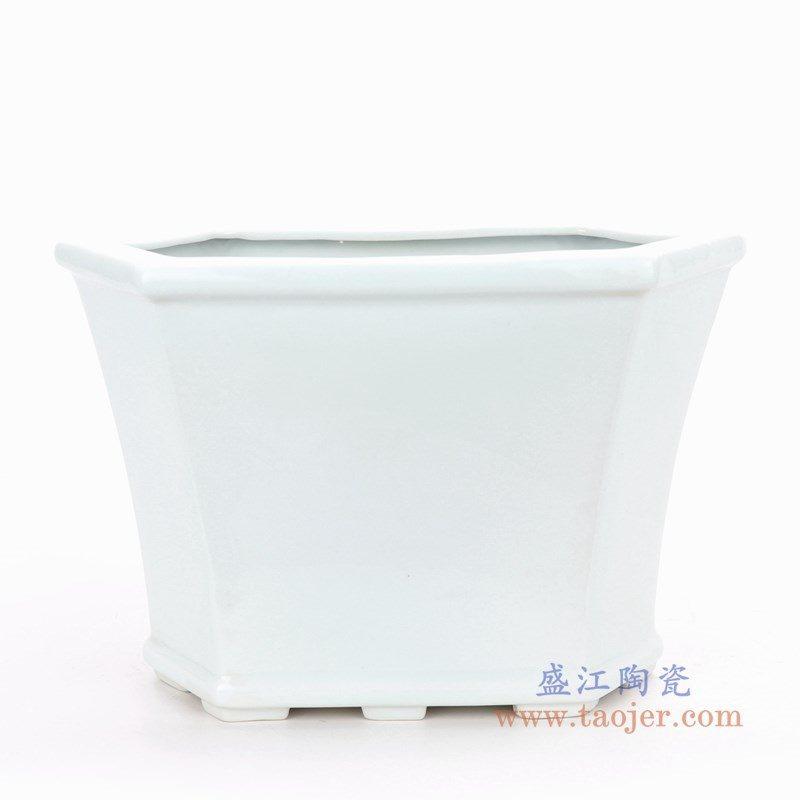 RZPS01 盛江陶瓷 复古风格素白胎小号四足四边倒角八边形花盆菖蒲盆