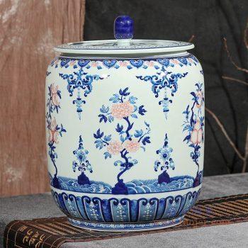 RZLG56 景德镇陶瓷 仿古手绘青花釉里红三花三果寿桃五福临门茶叶罐