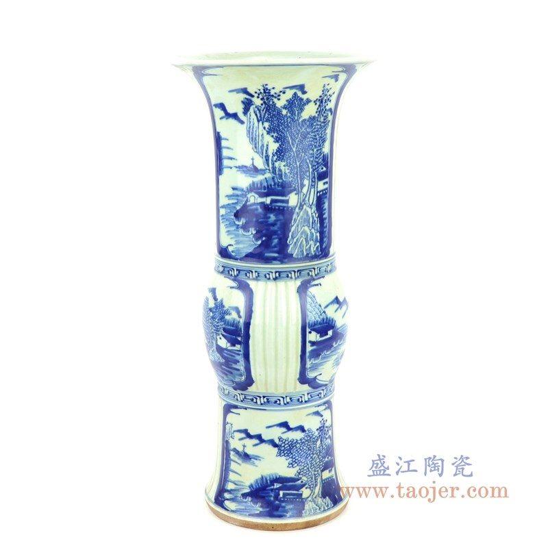 RZJI02 盛江陶瓷 全手工手绘青花山水图案花觚
