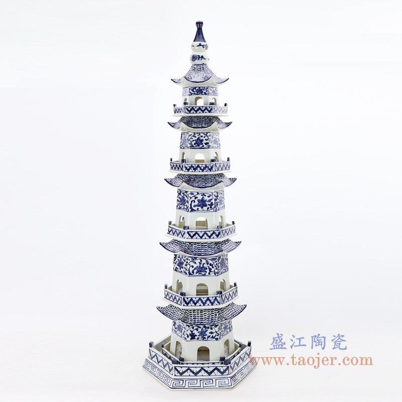 RZPI42 盛江陶瓷 高仿元青缠枝莲花卉纹陶瓷宝塔