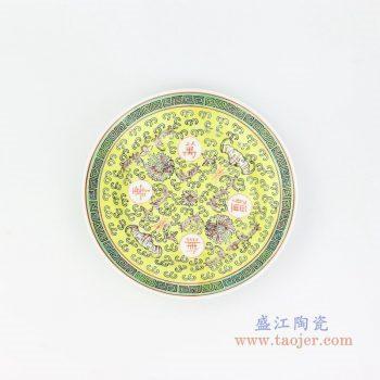 RZPV04-B 景德镇陶瓷 6寸景德镇传统粉彩怀古万寿无疆陶瓷赏盘摆件