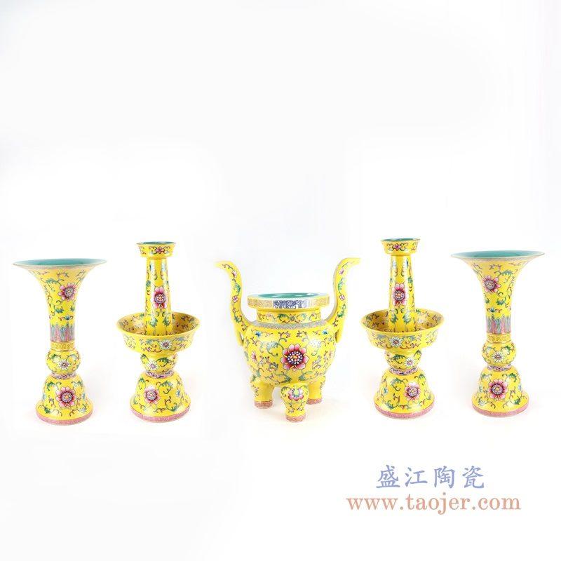 RYLW19 盛江陶瓷 佛具寺庙五供摆件陶瓷佛前香炉烛台花瓶