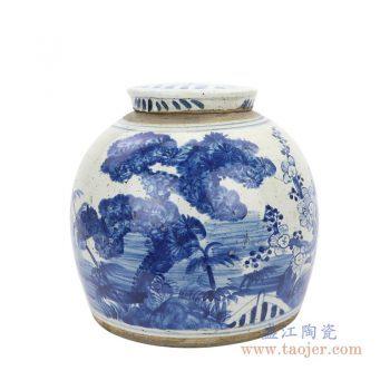 RZEY03-L-F-大号 景德镇陶瓷 清代全手工 青花松竹梅图案罐子