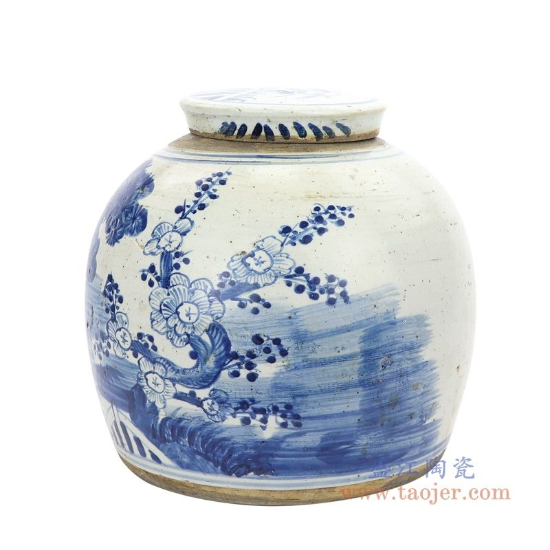 RZEY03-L-F-大号 盛江陶瓷 清代全手工 青花松竹梅图案罐子