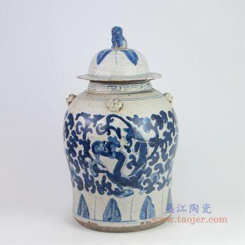 RZEY12-K-S小号 景德镇陶瓷 清光绪青花博古花纹狮子头将军盖罐