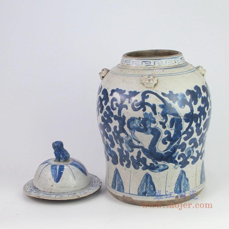 RZEY12-K-S小号 盛江陶瓷 清光绪青花博古花纹狮子头将军盖罐