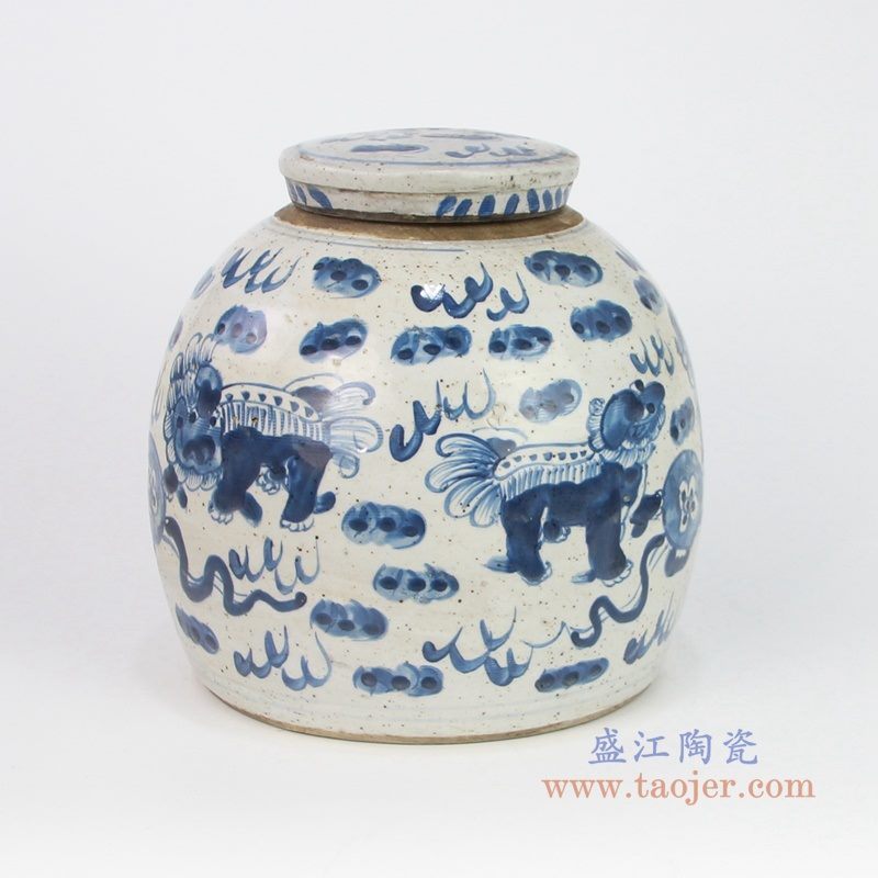 RZEY16-S-D-小号 盛江陶瓷青花狮子纹海藻图纹茶叶罐